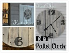 How to make DIY wooden wall clock with used pallets step by step tutorial instructions diy pallet, pallet clock, reuse furniture, wood craft, wood creations, pallets, clocks, barn wood, pallet wood