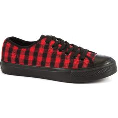 Red Check Lace Up Trainers ($8.04) ❤ liked on Polyvore