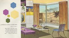 "Yellow color scheme from the Mid Century decorating book ""Window Decorating Made Easy by Kirsch"","