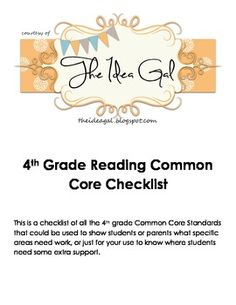 4th grade Reading Common Core Standards checklist