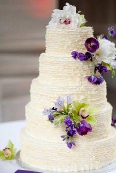 Buttercream ruffled purple wedding cake #flowers #cake #dessert  Photo by: Lisa Dolan on Grey Likes Weddings