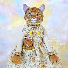 Cat Art Doll OOAK Original Ginger Tabby Cat Hand by ruffings, $325.00