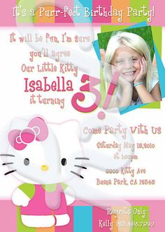 Hello Kitty party invitations.