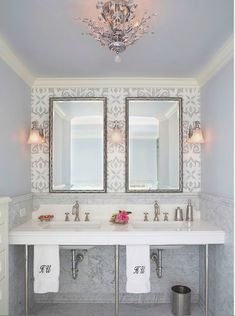 Chic bathroom idea: Wallpaper only the wall behind your mirror