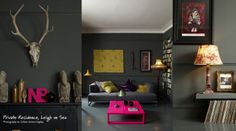 Grey room with vibrant touches | Abigail Ahern's style