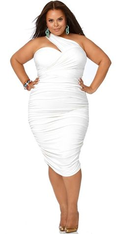 """""""Marilyn"""" Ruched Convertible Dress - White"""