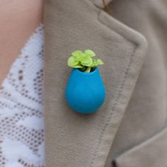 Wearable Planter Pin Aquamarine now featured on Fab.