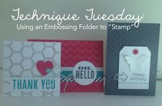 Gotta try this! Stamp with an Embossing Folder