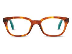 TOMS Lyndi glasses in Brown Tortoise. These warm frames have blue-green contrasting tips for a little pop of color.