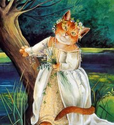 Ophelia in Hamlet from Shakespeare Cats by Susan Herbert.