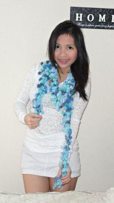 Pompom scarf / scarflette blue by CrochetFabNTutuHolic on Etsy,