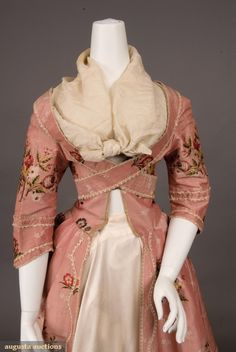 Older textile worked into a 1780-90 gown - and then poorly dressed on a mannequin!