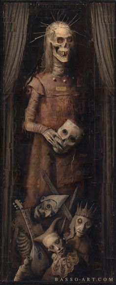Basso Art - The Art of William Basso  What am I looking at? Art, death, medieval imagery beautifully intertwined.