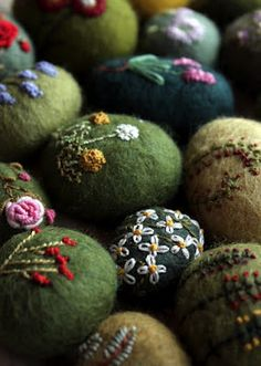 felted embroidered rocks