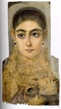 Fayum mummy portrait, 2nd century. Mummy portraits were portraits painted on flat panels of wood and depicted the people who were mummified. The arid climate of Egypt has preserved the vivid color of many of the portraits.