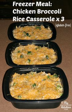 Chicken Broccoli Rice Casserole {Gluten-free}  Freezer meal ideas