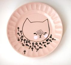 hand painted plate cat by prettylittlethieves