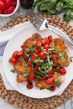 Recipe: Pan-Seared Chicken Thighs with Blistered Tomatoes & Basil