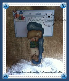 "I painted this  6"" snowman clothespin using a Cyndi Combs design. Marie's Country Woodcrafts."