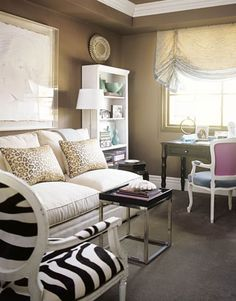 Modern cocoa brown living room: Benjamin Moore 'Shenandoah Taupe' + zebra print by xJavierx, via Flickr