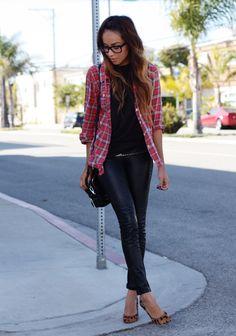 Leather leggings: Paige Denim // Tank: Helmut Lang // Button up: F21 // Heels: Madewell (cute leopard flats instead here + here + here)  // Bag: 3.1 Phillip Lim // Glasses: Warby Parker // Belts: Gap + Vintage