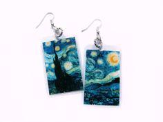 Van Gogh's Starry Night  laminated paper earrings by VeraCreations.