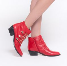 Francoise red leather