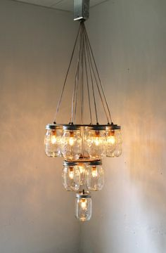 Mason Jar Chandelier - Mason Jar Lighting - 3 Tier Upside Down Wedding Cake - Handcrafted Upcycled BootsNGus Hanging Pendant Light Fixture.  $325.00