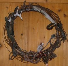 christma wreath, christmas wreaths, cabin, craft, barbed wire wreath