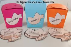 Fortune Cookie Question Cards for Non-Fiction - kept in colorful take-out containers! A great way to make informational text more engaging.