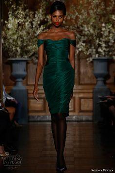 romona keveza fall 2013 rtw emerald draped cocktail dress silk taffeta draped shoulder detailing subtle sweetheart neckline e1363