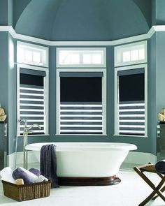 Fabulous striped cellular shades - bold colors make a statement!  www.budgetblinds.com/glenallen