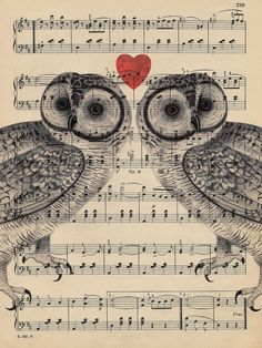 I dislike owl pictures, but I love the concept of painting or printing over book pages and sheet music.
