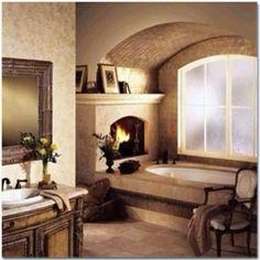 Bathroom.....jacuzzi tub AND fireplace!  <3