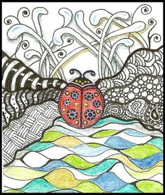 the lady bug is a rubber stamp and the rest is zentangled. I used my in Inktense pencils for color.