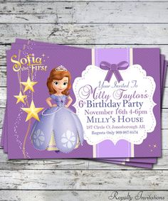 Free Sofia The First Birthday Party Deluxe Package With This Order Of Sofia Birthday Invitation on Etsy, $5.00