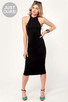 Sexy Black Dress - Midi Dress - Halter Dress - $38.00