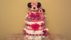 Minnie Mouse Diaper Cake  Ship Ready by CaringCakes on Etsy, $100.00