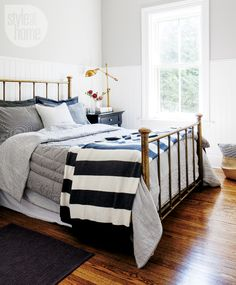 black + white + grey bedroom design of Lisa Besseling via Style at Home