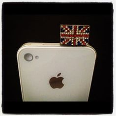 Great Britain Flag Double Sided With Crystals - Phone jack protector - prevents dust getting through phone jack and damaging your phone. And sparkly! :)