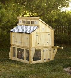 Portable Chicken Coop  If you live where you have no restrictions to own chickens, here is a nice coop. Enjoy fresh eggs.  Portable Chicken Coop from BHG