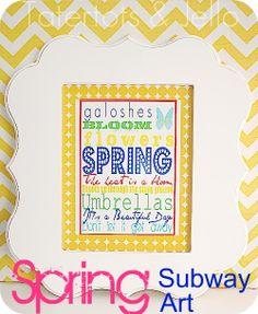 Free Printable Subway Art. Perfect for SPRING! -- Tatertots and Jello #printables #DIY #spring