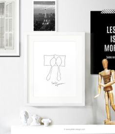 Let's Spoon Minimal Poster / Black and White Wall by petekdesign, $18.00
