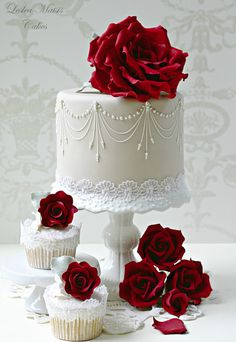 exquisite wedding cake and cupcakes