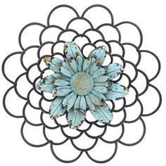 Black Metal Wall Decor with Blue Flower Center