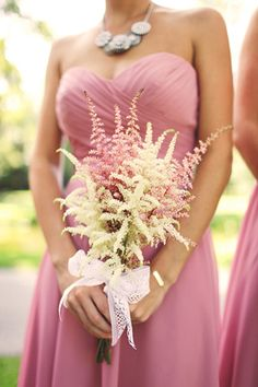Astilbe  White + Pink Wedding Bouquet  #Wedding #Planning ideas https://itunes.apple.com/us/app/the-gold-wedding-planner/id498112599?ls=1=8 tips on how to keep your costs down ♥ #pale #pastel #pink #wedding #bride #bouquet #corsages #boutonnieres ♥ More pink wedding ideas http://pinterest.com/groomsandbrides/pastel-pink-wedding/