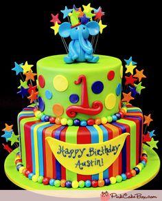 elephany zoo animal boy birthday cake