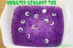Monster Sensory Tub with water marbles and google eyes. Would be fun with different colored eyes, especially some that are similar in color to the marbles - add a little visual/tactile discrimination