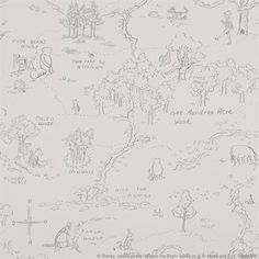 One Hundred Acre Wood Map ™Wallpaper.  Awwwwww.  Maybe on my office walls?