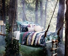 outdoor beds, hanging beds, tree houses, fairy tales, place, dream bed, garden, bedroom, sweet dreams